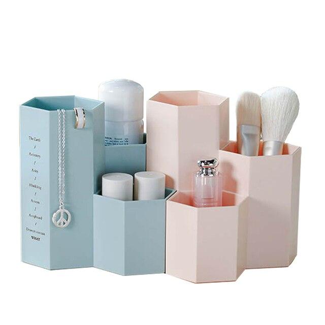 Oficina Organizador de Maquillaje Caja de Cosméticos Cajas De Almacenamiento Holder Maquillaje Herramientas Cepillo Caso Exhibición de La Joyería Estante