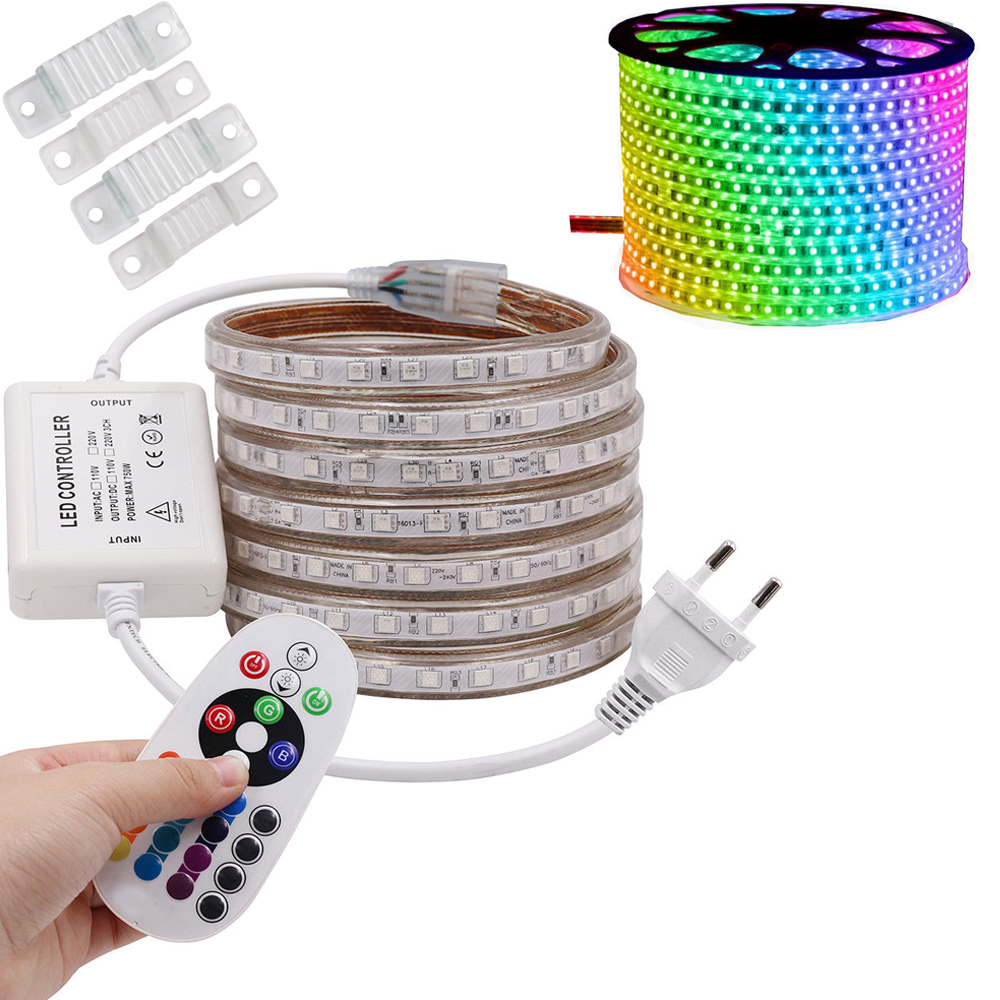 все цены на RGB LED Strip Light AC 220V SMD 5050 Flexible Waterproof LED Tape 60LEDs/m Ribbon for Garden 1M/2M/3M/4M/5M/6M/7M/8M/10M/15M/20M