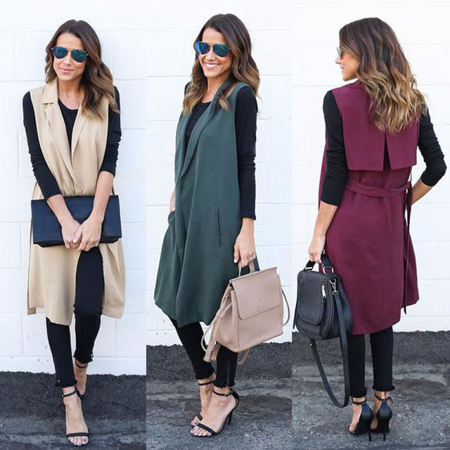 S-XL Office Lady High Street Women Sleeveless Waterfall Solid Turn Down Collar Long Cardigan Trench Coat Waistcoat Autumn Wear