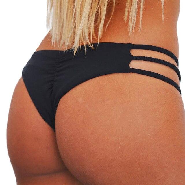 e198127eb4b72 Thong bikini bottom pleated pants Black cutout maillot de bain women  swimming Pants Beach Wear Swimwear String Bathing Suit