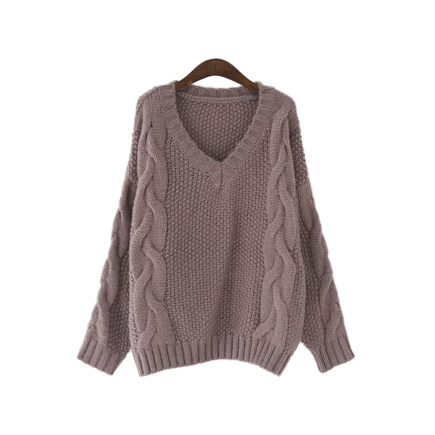 4218f750f Cable Knit Sweater Women Wide V Neck Jumper Pullover Sweaters -in ...