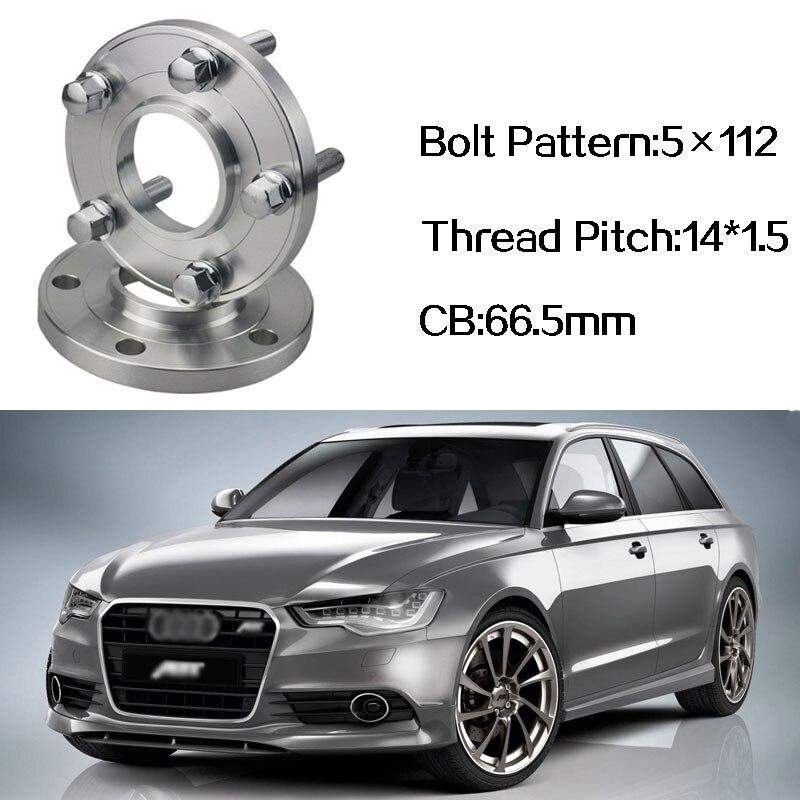 2 pièces 5x112 66.5CB Centric Entretoise De Roue Moyeux M14 * 1.5 Boulons Pour Audi Q7 A4 B8 A5 A6 C7 A7 A8 Q5