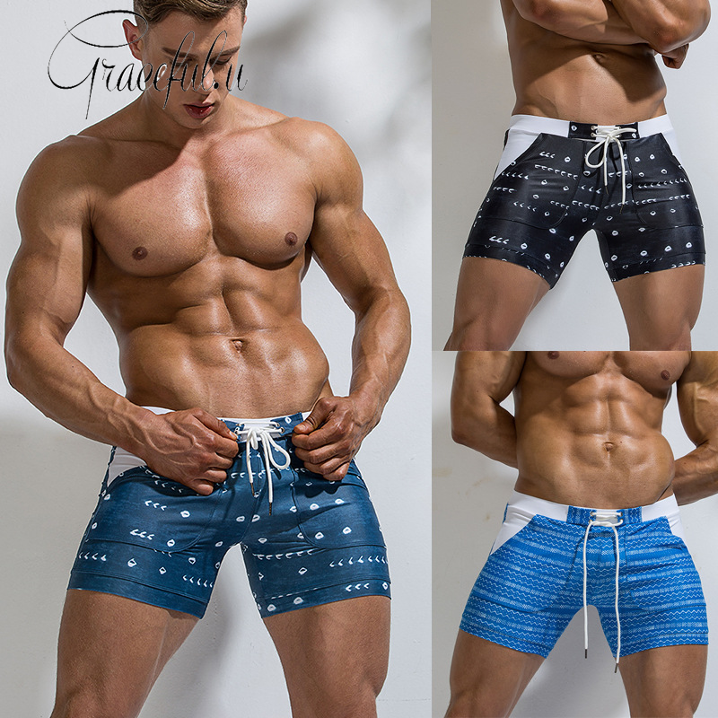 2019 Men Beach   Short   Elastic Printed Boxer Three-point Swimming Trunks Beach   Board     Shorts   Swimming Pants Swimsuits Pants Men