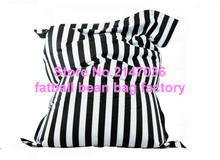Fashion black stripes cotton fabric bean bag , Adults comfortable living room indoor beanbag chairs