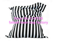 Fashion Black Stripes Cotton Fabric Bean Bag Adults Comfortable Living Room Indoor Beanbag Chairs