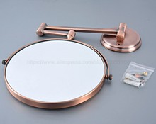 Antique Red Copper Round Extending 8 inches cosmetic wall mounted make up mirror shaving bathroom mirror 3x Magnification zba631 недорого