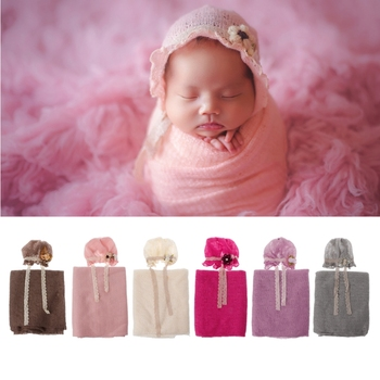 Newborn Photography Props Baby Crochet Costume Photo Caps Stretch Blanket Set baby shower gift photography props accessories handmade blanket for newborn baby photo props crochet rose flowers pink floral knitted receiving blankets photography props