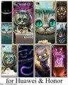 Cheshire Cat alice in wonderland Hard Transparent Case Cover for Huawei P6 P7 P8 P9 Lite Plus & Honor 6 7 4C 4X G7 Case Cover