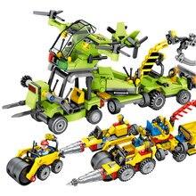SEMBO City Construction Engineering Team Light Forklift aircraft Model Building Blocks sets Bricks kids Toys