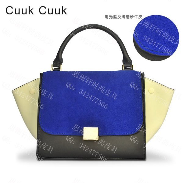 Illusiveness 2013 suede nubuck leather cowhide bag color block swing bag trapeze handbag