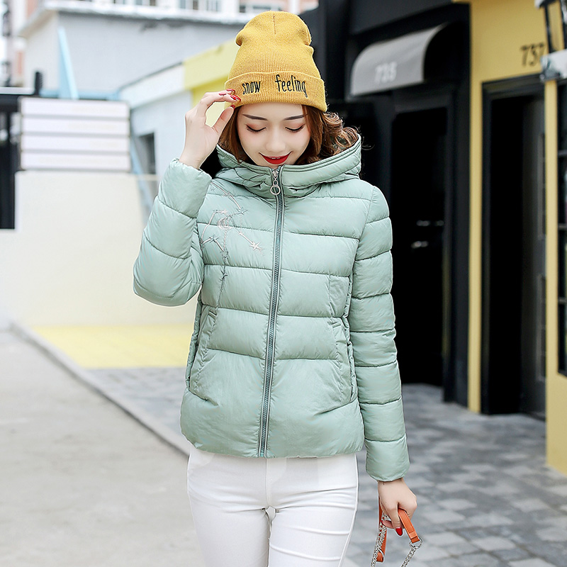2017 Autumn Winter New 5 Color Fashion Women Short Hooded Zipper Parkas Female Embroidery Slim Cotton-padded Coats LA1013B#16603 winter jacket women 2017 new female 5 color slim cotton padded jackets fashion short hooded zipper parkas coats a1013b 16601