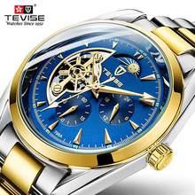 Tevise automático tourbillon relógios mecânicos relógio masculino luminoso mão negócios relógio de pulso automático relogio relógios para homens