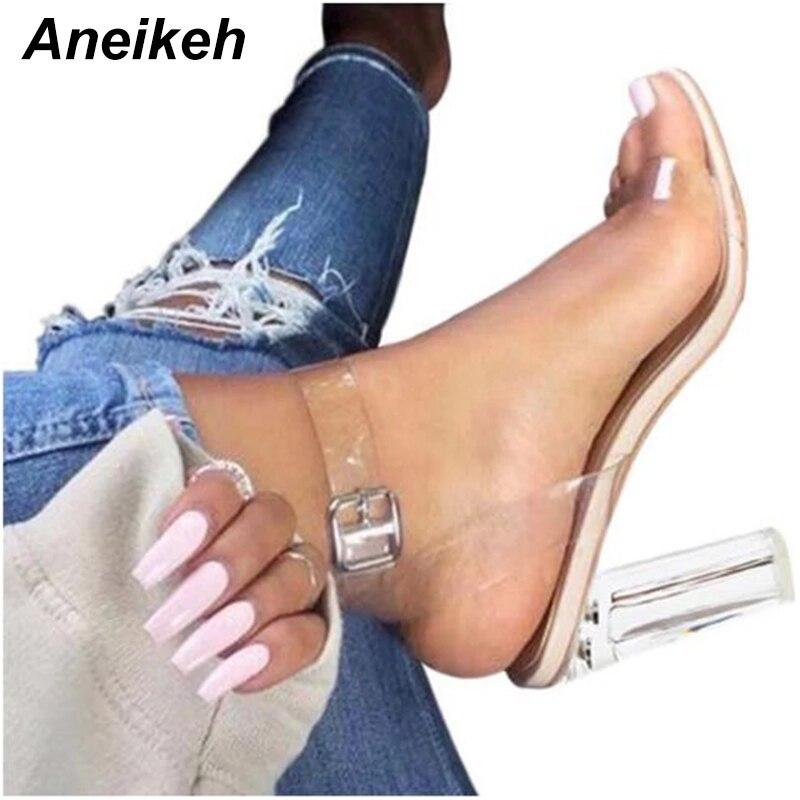 Aneikeh 2019 PVC Jelly Sandals Crystal Leopard Open Toed High Heels Women Transparent Heel Sandals Slippers Pumps 11CM  41 42
