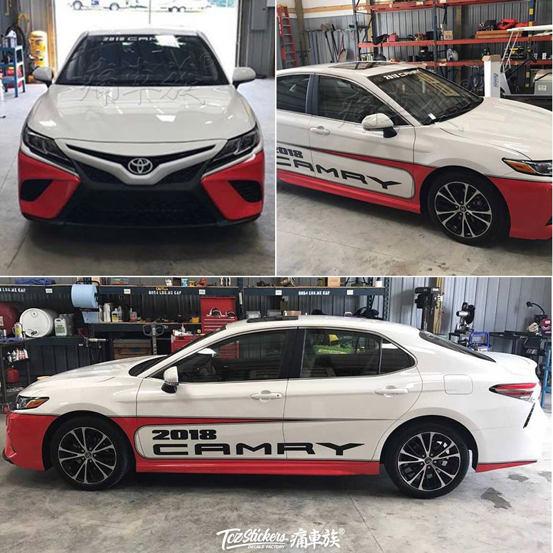 for Toyota Camry 2018 2019 car stickers pull flower color strip VALON modified car sticker film appearance decoration