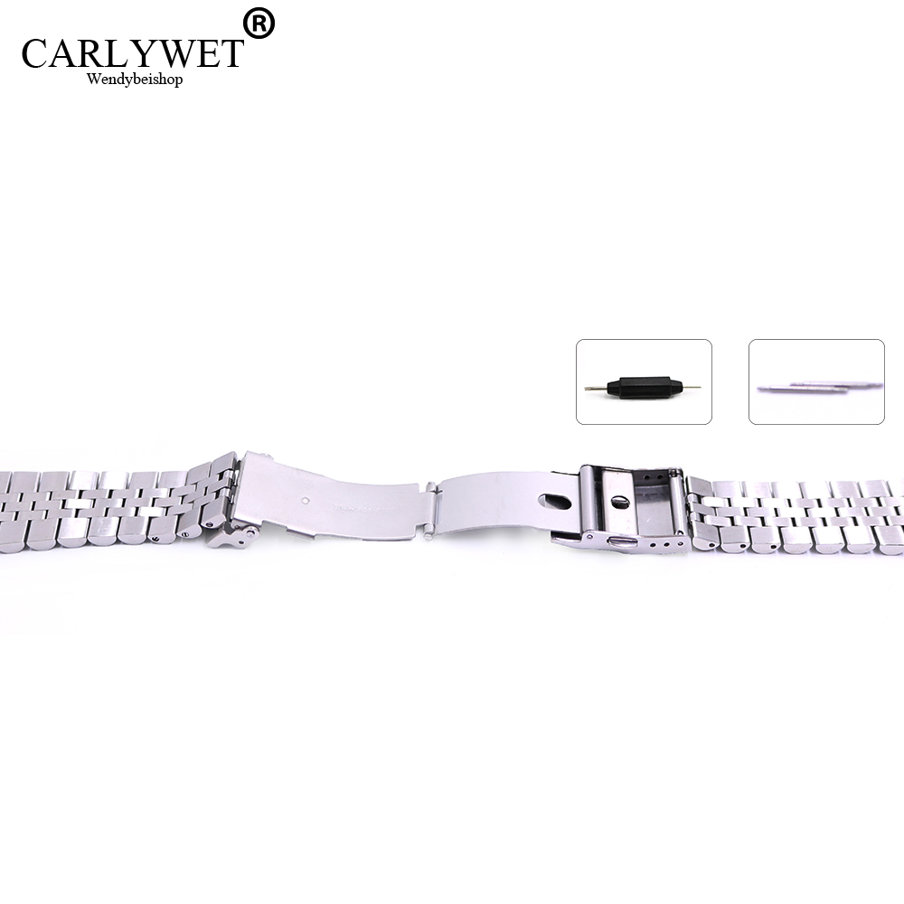 22 mm Hollow Curved End Solid Screw Links Acero inoxidable Plata - Accesorios para relojes - foto 5
