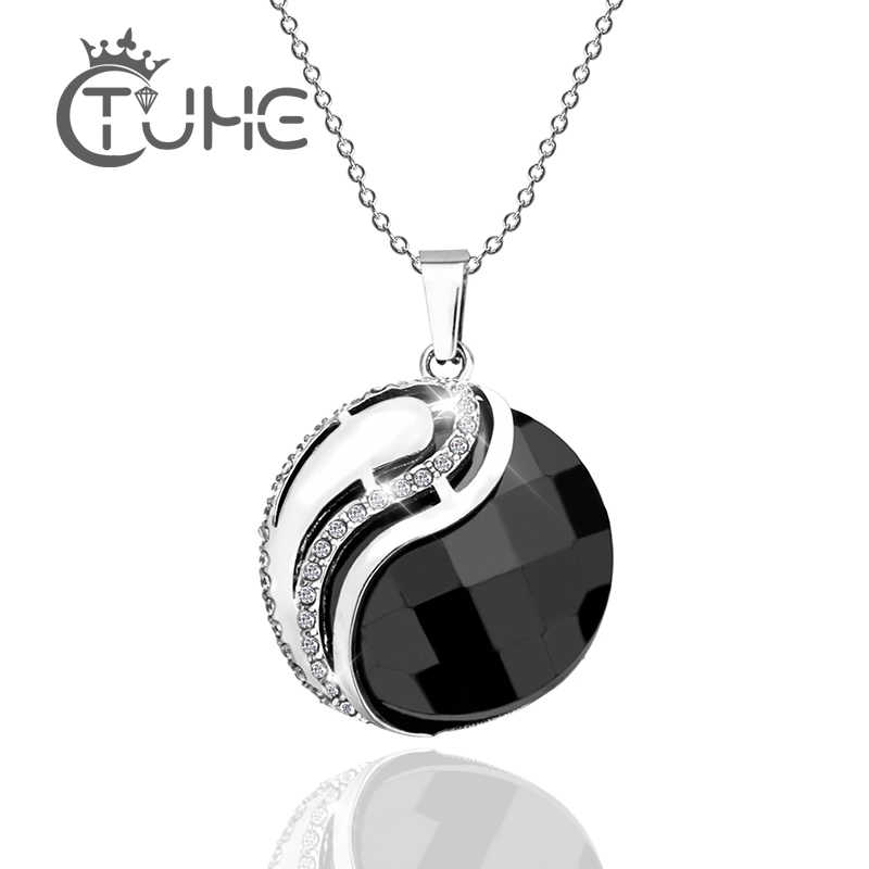 Bling Crystal Yin Yang Charm Round Necklace Tibet Bagua Array Black White Ceramic Pendant Necklace Lucky Chain For Women Jewelry
