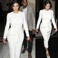 Celebridade Kim Kardashian Vestido de Manga Longa Midi Vestido Lápis Pescoço Vestido com Sash S-2XL