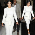 Kim kardashian celebrity dress manga comprida midi dress o pescoço lápis dress com sash s-2xl