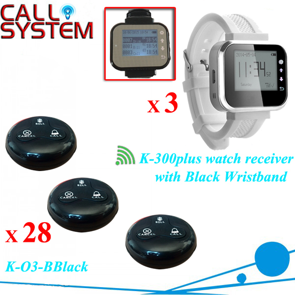 28 Waterproof Guest Call Button W 3 pager watch Wireless Call Bell System Restaurant Table Buzzer restaurant pager watch wireless call buzzer system work with 3 pcs wrist watch and 25pcs waitress bell button p h4