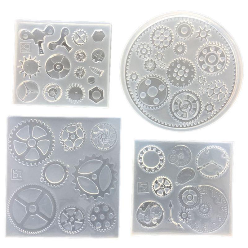 4 Pack Silikon Harz Schmuck Formen Für Schmuck Herstellung Einzigartige Punk Getriebe Rad Uhr Designs