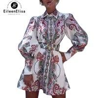 Весеннее мини платье 2019 платье с геометрическим принтом женское ТРАПЕЦИЕВИДНОЕ ПЛАТЬЕ с отложным воротником высокое модное женское платье