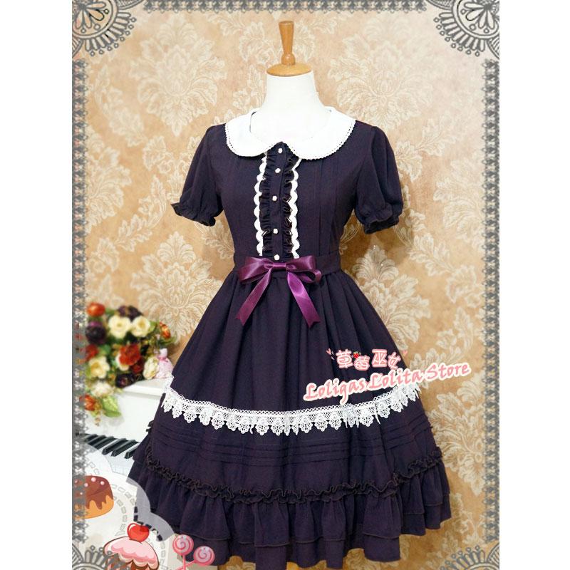 Sweet Short Sleeve Chiffon Summer Dress Cute Peter Pan Collar Lolita OP Dress by Strawberry Witch