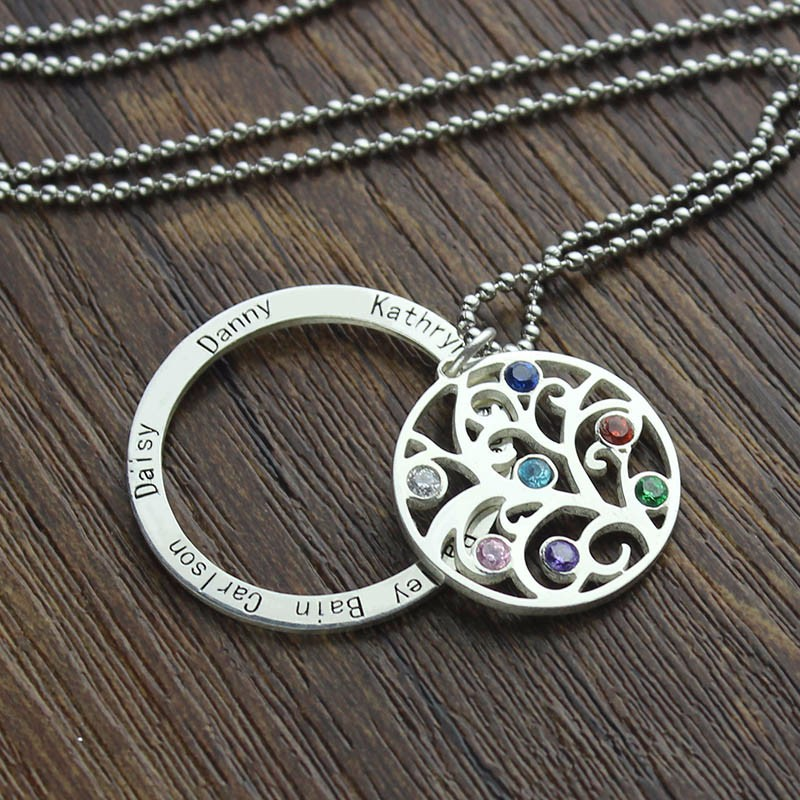 XiaoJing 925 Sterling Silver Tree of Life Necklace Personalized Custom Family Name amp Birthstone Fine Jewelry for Mother 39 s Day Gift in Pendant Necklaces from Jewelry amp Accessories