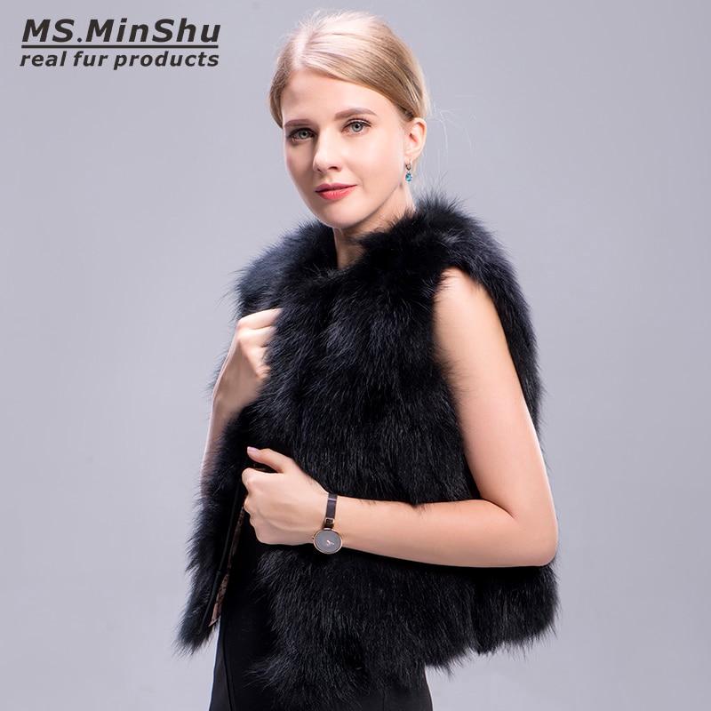 Ms. MinShu Preto Colete De Pele 100% Real Colete de Pele De Raposa Fox Colete De Pele Naturais Mulheres Fábrica Atacado Varejo Feminino Colete de pele