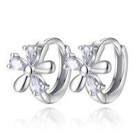 2017 bijoux Vintage Sliver Color Crystal Flower Stud Earrings for Women Love Wedding Earring Statement Brinco Bijouterie