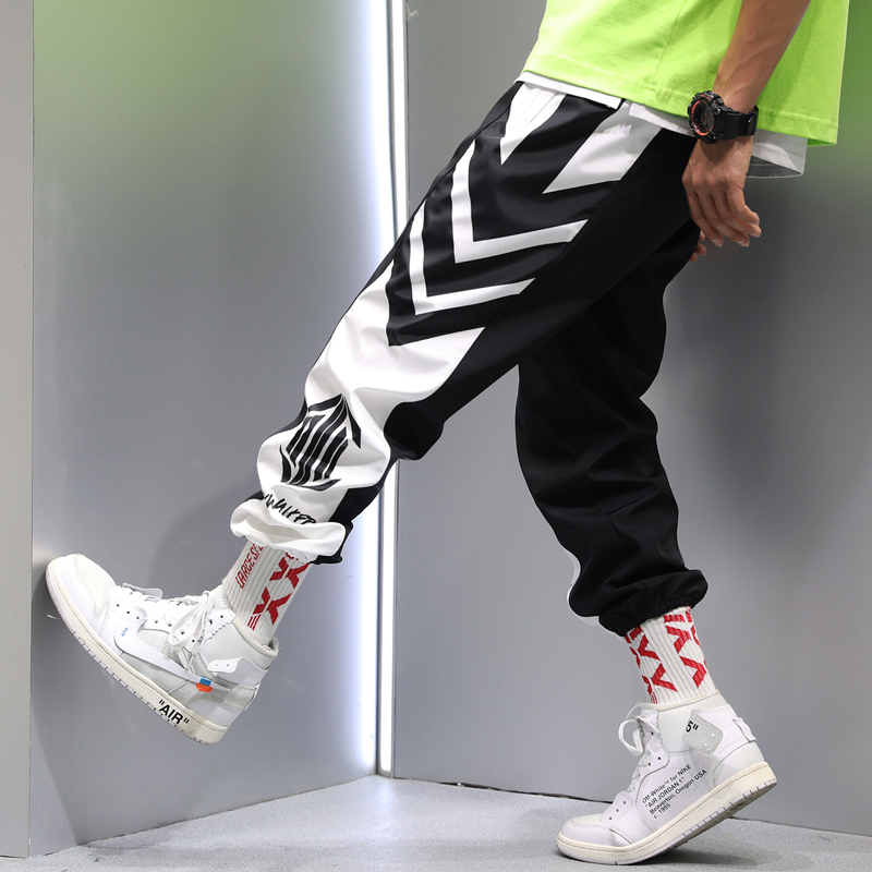 Men's sports pants summer thin section personality hip hop trend loose beam feet nine pants students couples trend pants