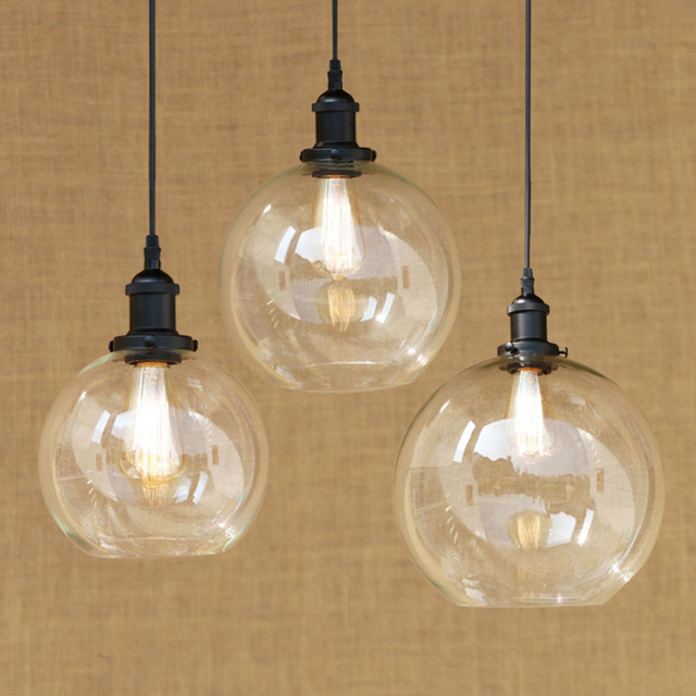 Modern Spherical Glass Shade Pendant Lamp LED Edison Bulb Pendant - Kitchen light fixtures edison bulb