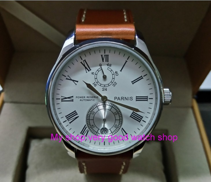 PARNIS 43mm white dial Automatic Self-Wind movement power reserve men's watch Mechanical watches wholesale 151a 40mm parnis white dial vintage automatic movement mens watch p25