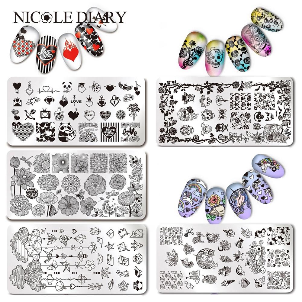 1 Unid Rectángulo Nail Art Stamping Plantilla Animal Flor Rusa Rusa Cumpleaños Celebración Patrón Estampado Imagen Placas 12 * 6 cm