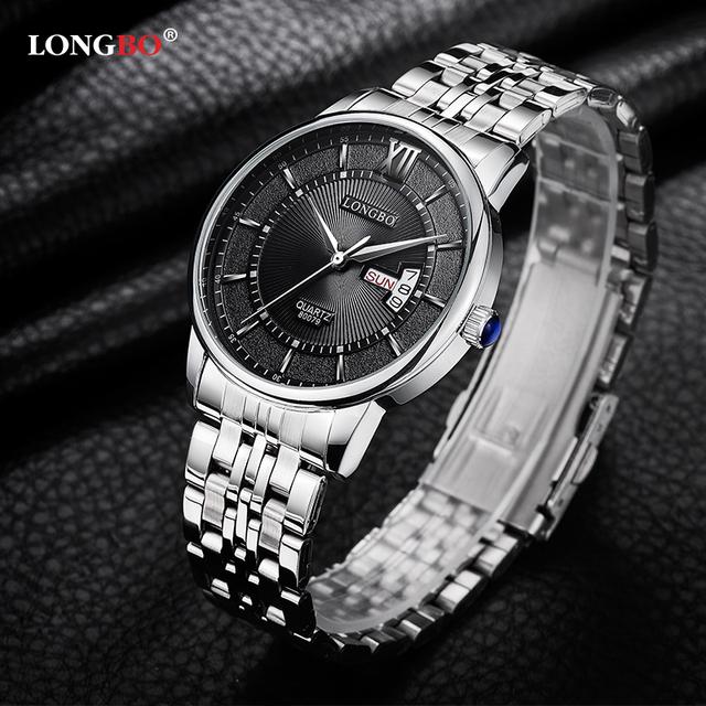 Longbo moda casual do esporte dos homens relógios reloj hombre marca top 2017 relógio de aço inoxidável relógio masculino horas relogio masculino 80079