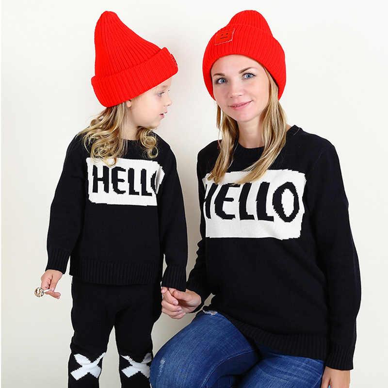 Дождевая тучка, пуловеры, хлопковый свитер, одинаковые комплекты для мамы и дочки, осенне-зимняя одежда с изображением губ в полоску для мамы и ребенка
