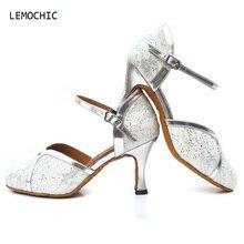 LEMOCHIC new salsa samba tango dancing ballroom shoe for women latin pointe kitten heel belly step female dance shoes on sale