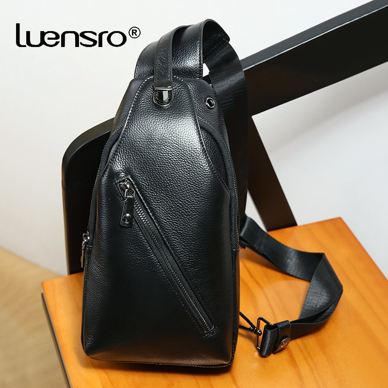 LUENSRO Anti theft Male Chest Bag Genuine Leather Waterproof Man Korea Style Messenger Shoulder Bag For