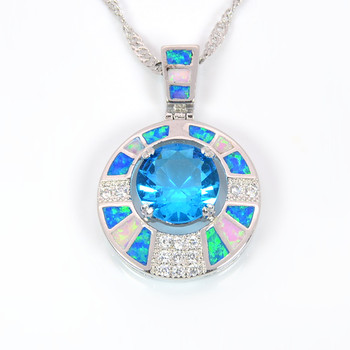 New Arrival Trendy Silver Necklace Pendants Blue Fire Opal for Ladies biggest Surprise Party Gift for Women PJ16011705