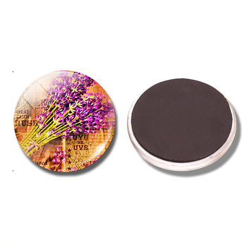Lavender Art 30MM Fridge Magnet Lavender Flower Waiting for Love Glass Dome Magnetic Refrigerator Sticker Note Holder Home Decor image