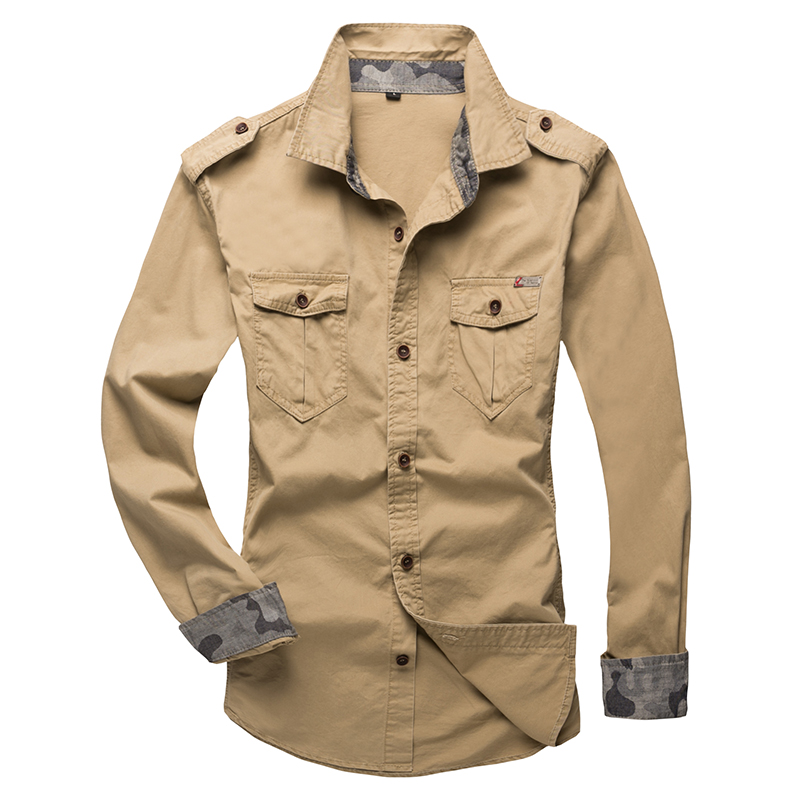 2020 New Men Tactics Brand Shirt Tooling Military Style Camisa Social Fashion Solid Cotton Shoulder Strap Long-sleeved Shirt