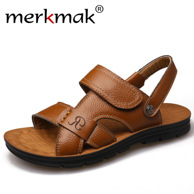 49a1d2db8128 Merkmak Summer Men Sandals Slippers Two-in-one Shoes Casual Fashion Genuine  Leather Beach Holiday Footwear Comfort Leisure Shoes
