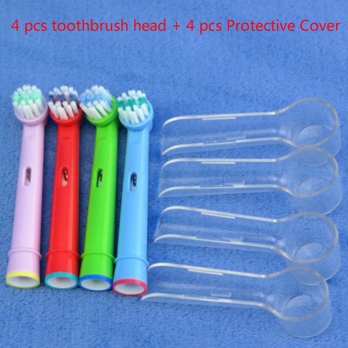 New 4pcs/set Electric Tooth Brushes Heads Replacement For Oral B Vitality Soft-bristled with Protective Cover