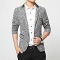 Мужская blazer высокое качество пиджак корейский моды серый пиджак мужчина случайно куртку одноместный груди полосой пальто в продаже новые мода