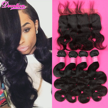 7A Brazilian Body Wave With Frontal Closure Lace Frontal Closure With Bundles 4 Bundles With Frontal