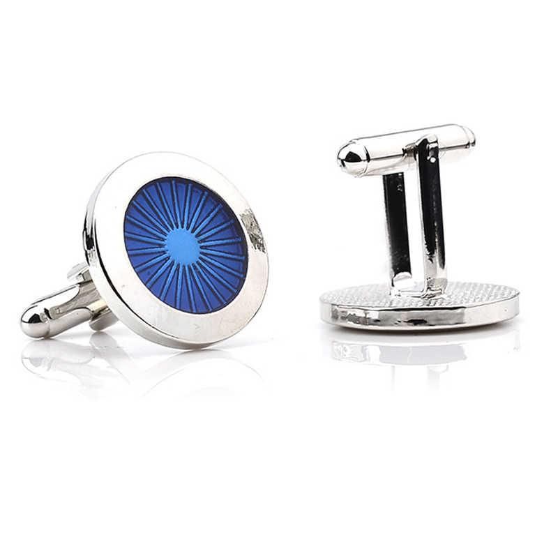 Klasik Mavi Yuvarlak Kol Düğmeleri Erkekler Için Marka manşet düğmeleri manşet Yüksek Kalite Abotoaduras Gemelos Lüks Hafif Tasarımcı Takı