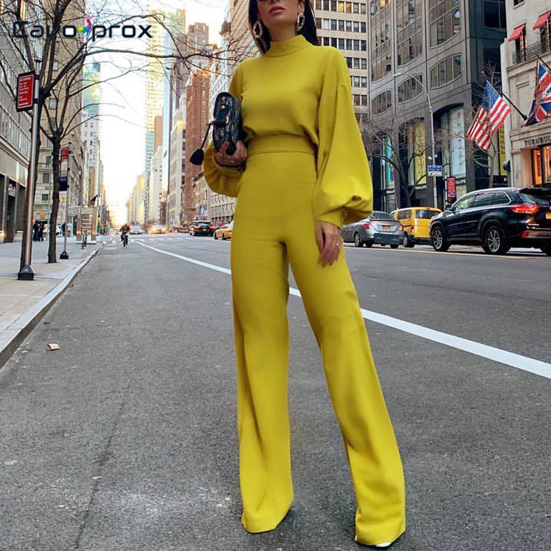 Women Wide Leg Bodycon Long Sleeve   Jumpsuits   Spring Fashion Elegant Office Lady Workwear Casual High Neck Lantern Sleeve Overall