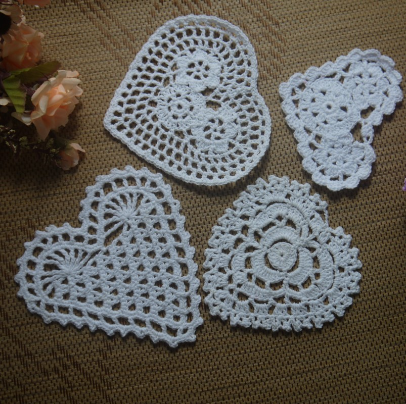 Free Shipping Each Design 20pcs Heart Shaped Crochet Pattern Doily