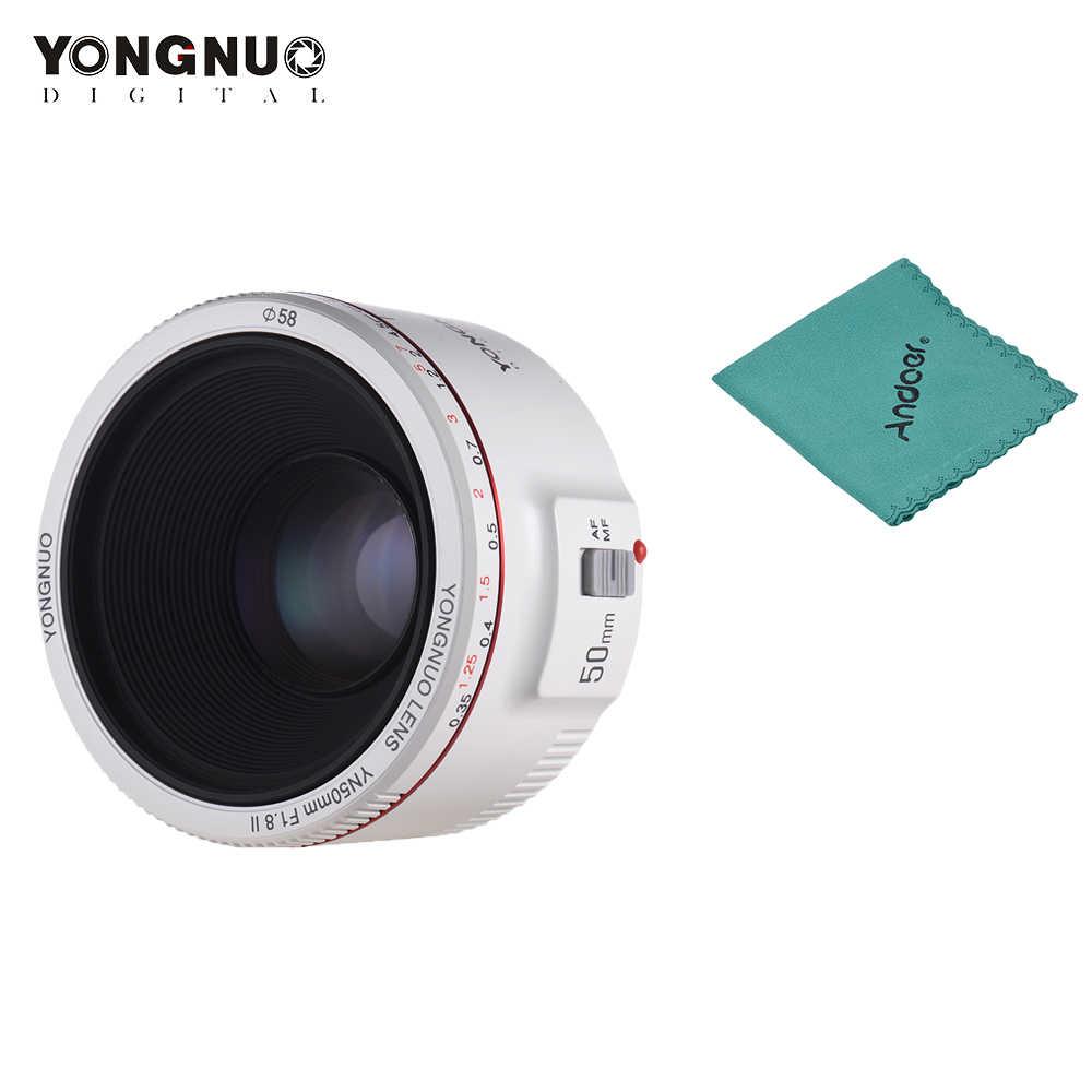 YONGNUO YN50mm obiektyw F1.8 II standardowy obiektyw główny duży otwór przysłony automatyczne ustawianie ostrości 0.35 i najbliższe dziesięć centra długość ogniskowej obiektyw do modeli Canon EOS 70D 5D2