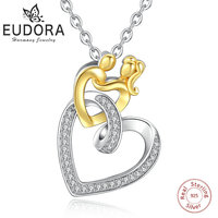 EUDORA Unique 925 Sterling Silver Connected Double Heart Pendant Necklace For Mother Son Fine Jewelry Birthday Perfect Gift D256