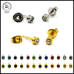 BOG- 16g Pair Surgical Steel CZ Gem Stud Ear Tragus Cartilage Earring 12 Colors Choosable Piercing Unit Body Piercing Jewelry